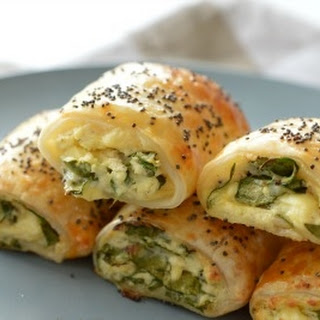Spinach and Three Cheese Rolls.