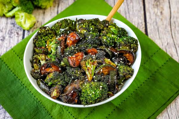 A Big Bowl Of Chinese Style Broccoli And Zucchini Stir-fry.