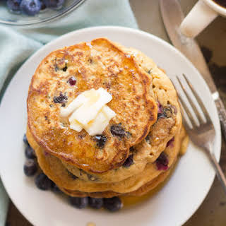 Vegan Blueberry Buttermilk Pancakes.