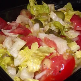Simple Fast Salad With Romaine, Tomato And Pickles