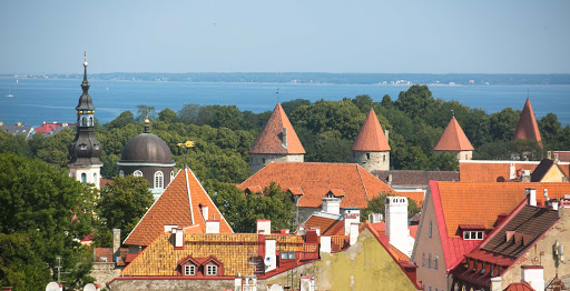 tallinn-rooftops.jpg - Some of the pretty rooftops that travelers can see on a visit to Old Tallinn, Estonia.