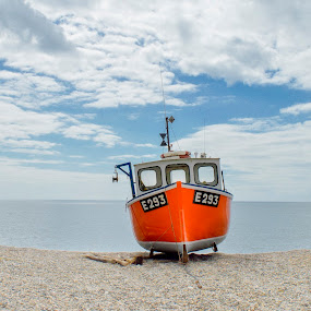 Boats at Branscombe by Karen Buttery - Transportation Boats ( orange, uk, sky, blue, devon, seascape, boat )