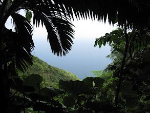 Photo: Een paar keer heb je vanuit de trail prachtige uitzichten over dalen en over de oceaan. Vaak kun je zelfs als je op 600 meter hoog zit het witte schuim zien van de golven die tegen de rotskust kapotslaan