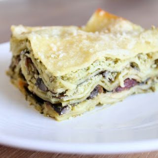 Light and Lovely Ricotta, Swiss Chard and Pesto Lasagna