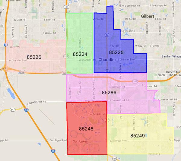 Chandler AZ Zipcode Map Phoenix AZ Real Estate 4807216253