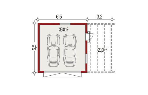 APG-6 wersja A - Rzut garażu