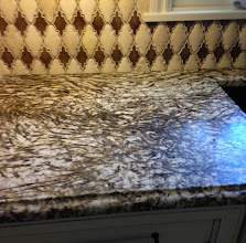 Photo: White Tiger 3cm w/ Brushed Finish.  Photo provided by Nimon Collier - Fabrication by Konkus Marble & Granite