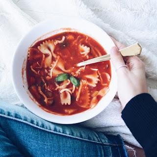 Bowtie Tomato Vegetable Soup.