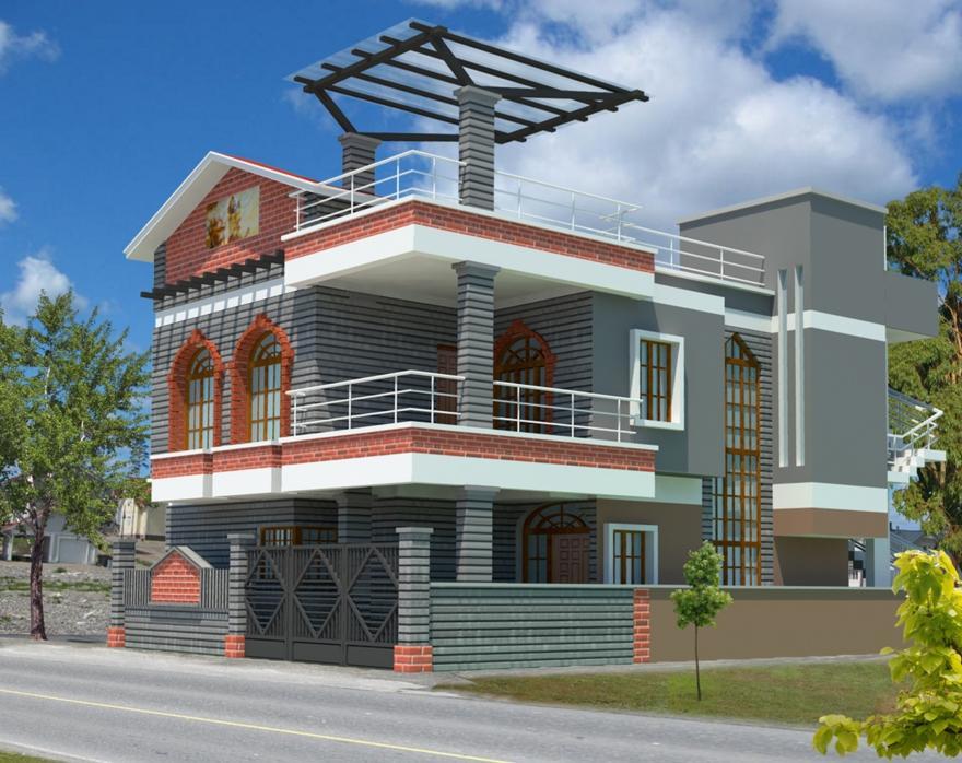 Enchanting Outer Design Of Home Contemporary - Exterior ideas 3D ...