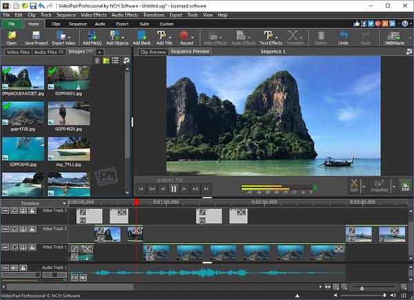 Giao diện phần mềm biên tập video - VideoPad Video Editor 10