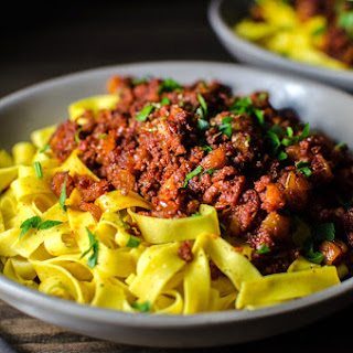 Apricot and Chorizo Bolognese with Turmeric Pasta