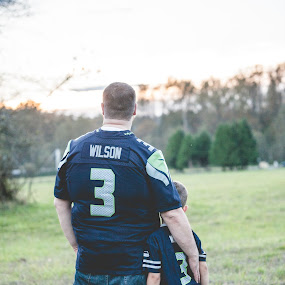 Father & Son by Bethany McGregor - People Family ( flaming geyser state park, 12th fan, dad, boy, russell wilson, golden hour, 2014, family portraits, autumn, seattle, family, washington, seahawks,  )
