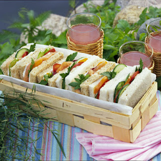Tuna and Salmon and Cream Cheese Sandwiches.