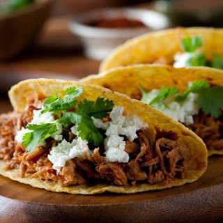 Slow Cooked Pulled Turkey Mexican Tacos.