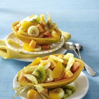 Papaya Stuffed with Exotic Fruits.