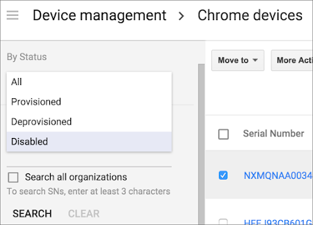 Disable Chrome device setting