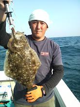 Photo: 最後のポイントで!ヒラメ!30回ぐらいシャクってヒット! 本人もびっくりの魚でした!