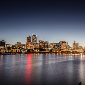 Portland Oregon Nightscape by Lanternsky Panleo - City,  Street & Park  Skylines ( portland downtown, oregon, portland, river night reflection, willamette, oregon nightscape, portland downtown nightscape, nightscape )