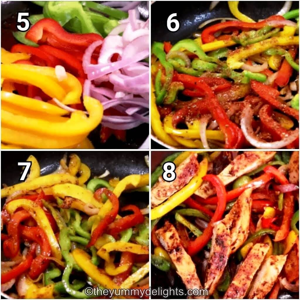 step by step image collage of stir-frying the bell pepper and onions with fajita seasoning. Addition of chicken strips to the pan to make chicken fajitas.