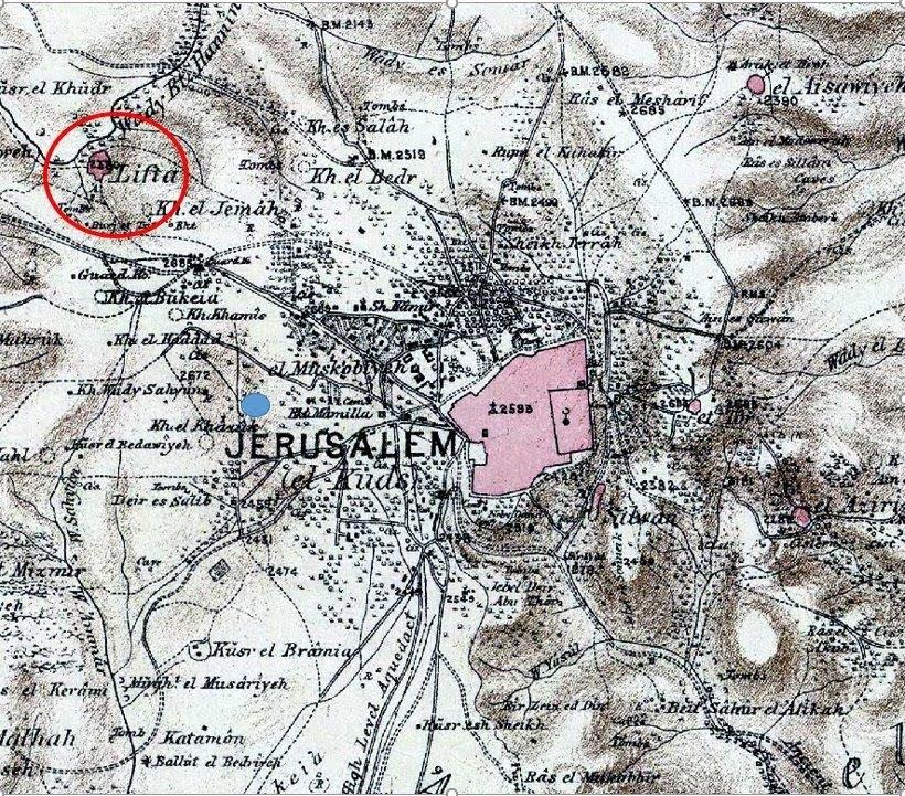 מיקום שטח השכונה ביחס לעיר העתיקה והכפר ליפתא בשלהי המאה ה-19.