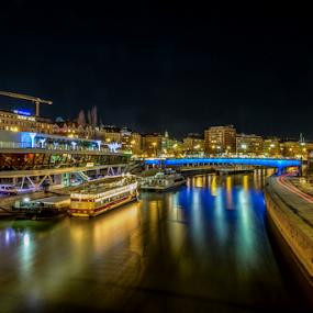 Vienna by Night by Nitescu Gabriel - City,  Street & Park  Night ( reflection, europe, boats, beautiful, reflections, cityscape, boat, city, nightscape, vienna, european, night photography, australia, night, long exposure, bridge, river )