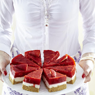 Coconut Cheesecake with Jellied Strawberries.