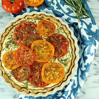 Savory Goat Cheese Tart with Roasted Heirloom Tomatoes & Jalapeño Honey Drizzle