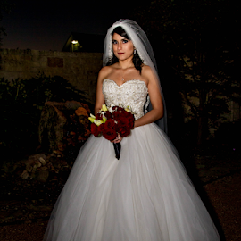 Bride In White At Night by Matthew Chambers - Wedding Bride ( bride, wedding dress, dress, white dress, night, bouquet, roses )