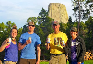 Photo: The evening before the climb - Lindsey, Aaron, me, Amy enjoying some good beer from Helena.