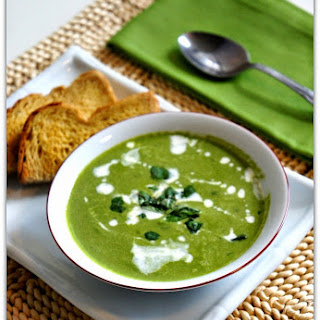 CrockPot Spinach Soup with Cucumber and Basil.