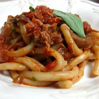Pici (Hand-Rolled Tuscan Pasta) with Arezzo Duck Ragu (Ragu dell'Anatra Aretino).