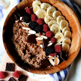 Creamy Brown Rice Porridge with Dark Chocolate.
