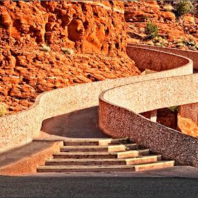 Chapel Ramp by Al Judge - Buildings & Architecture Architectural Detail ( arizona, architecture, chapel, sedona, ramp )