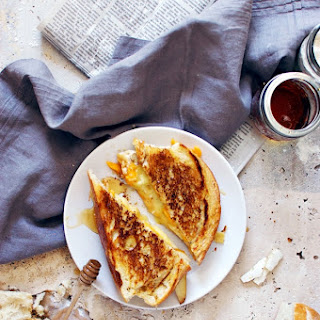 Brie And Cheddar Grilled Cheese With Honey Glazed Pears