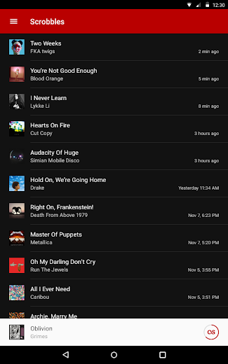 Screenshot 5 for Last.fm's Android app'
