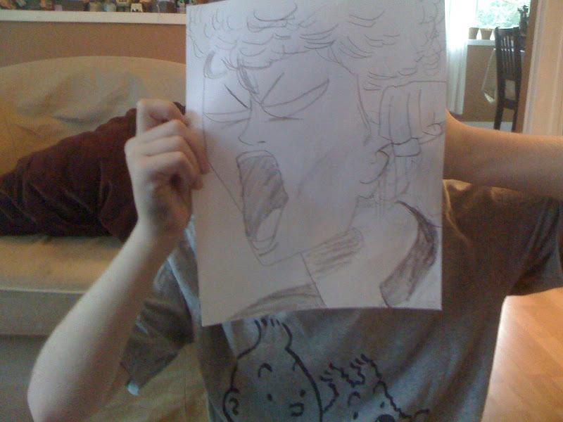 Photo: James draws a life-size weirdo from his Slam Dunk manga.