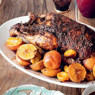 Roast Duck with Clementines.