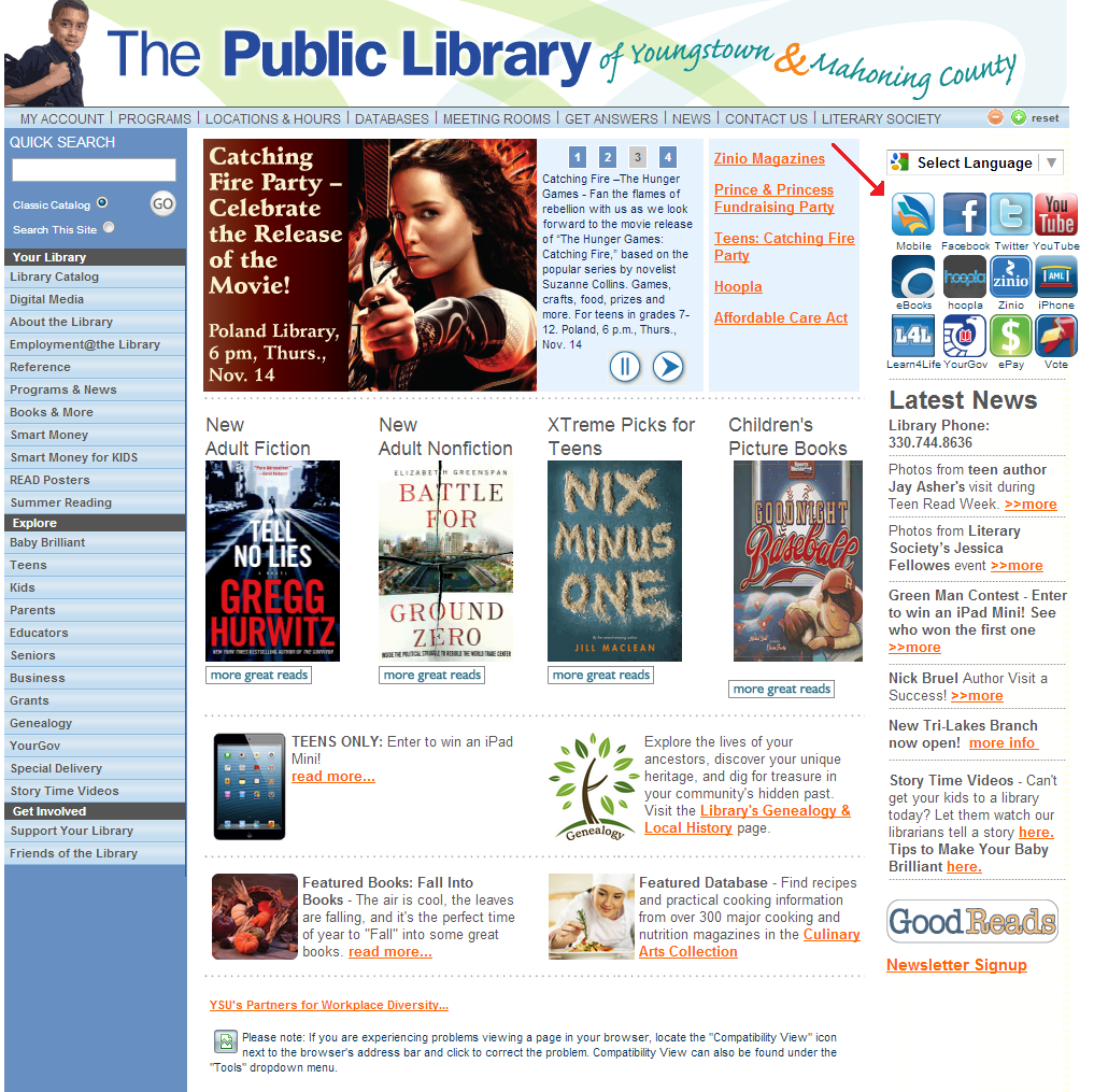 Public Library of Youngstown & Mahoning County App Promotion Example