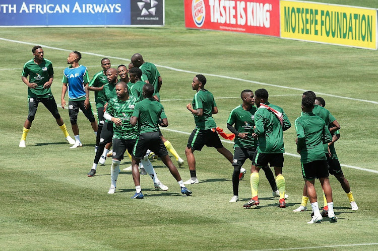 Bafana Bafana during the training session in preparation for the 2019 AFCON qualifier clash against Seychelles. The first leg match will take place at FNB Stadium on Saturday.