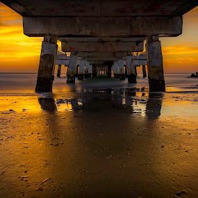 Buttery PoP by Ken Wagner - Buildings & Architecture Bridges & Suspended Structures ( florida, sunset, gulf, pier, long exp, nikon )