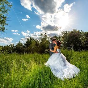 Shooting into full sun by Robert Blair - Wedding Bride & Groom ( wedding photography, wedding, wedding photographer, bride, groom )