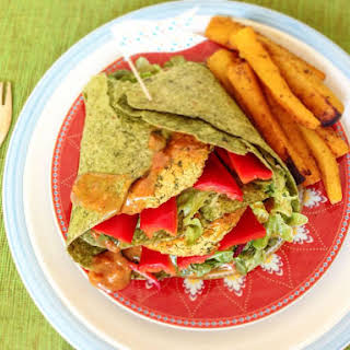 Red Lentil Burger Wraps With Curried Pumpkin Fries.