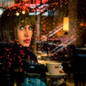 Cristy by Jo Polyxromos - People Portraits of Women ( woman, coffee, model, portrait, modelo, people, lights, fashion )