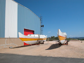 Photo: Here we are going to assemble and finish her. Best place on the boatyard, sheltered from the Mistral