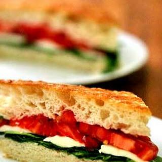 Arugula, Mozzarella, Tomato on Focaccia