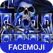 Blue Lightening & Rock Skull Keyboard Theme