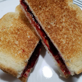 Toasted Peanut Butter and Black Raspberry Jelly Sandwich.