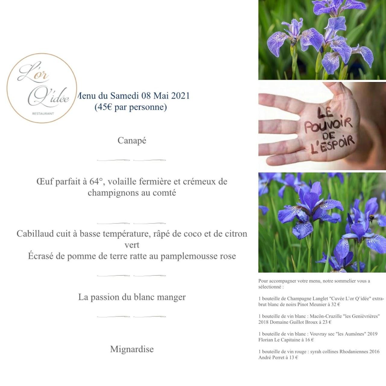 Le menu du 8 mai
