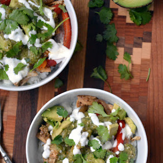 Chicken Burrito Bowls with Roasted Tomatillo Salsa