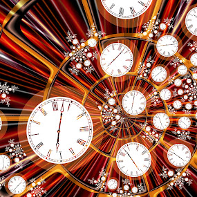 Time Flies When You're Having Fun by Pam Blackstone - Illustration Abstract & Patterns ( work, rush, pressure, speed, stress, dial, spiral, clocks, time, appointments, deadlines, late, 24/7, fractal,  )